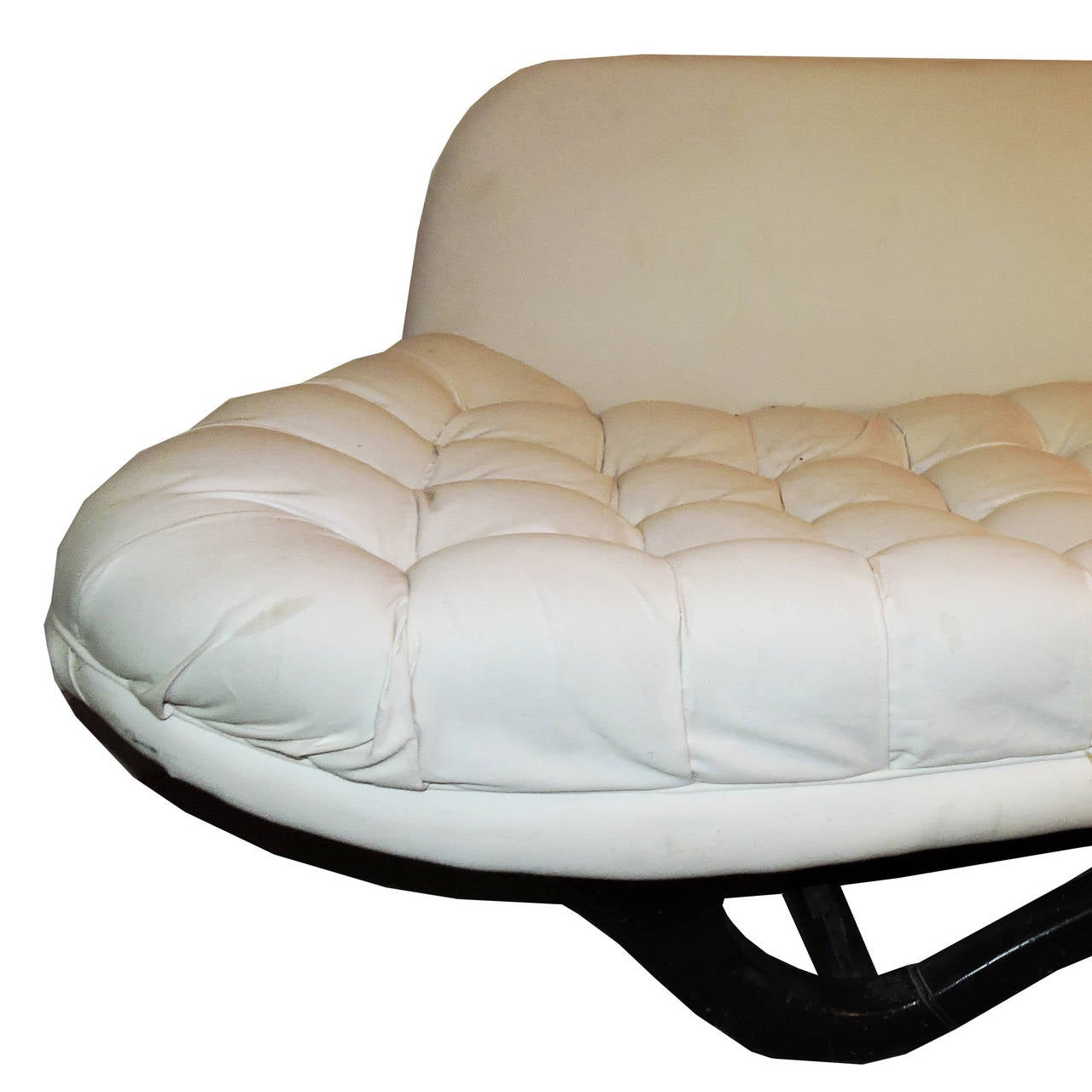 Mid century modern white tufted sofa for sale at 1stdibs for Tufted couches for sale