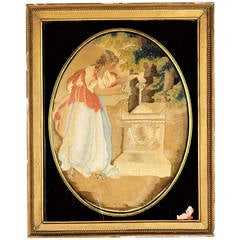 'Fame Decorating Shakespeare's Tomb' Needlework Picture 18th-19th Century
