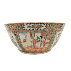 Large Chinese Expert Rose Medallion Porcelain Punch Bowl