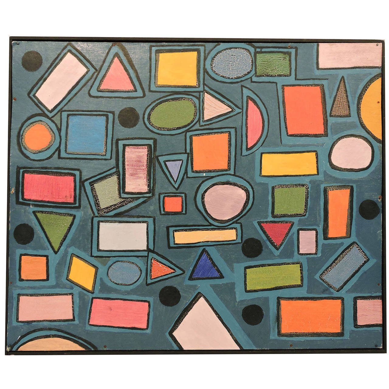 American Modernist 20th Century Geometric Abstract Oil Painting
