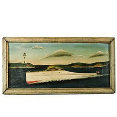 American Folk Art Painting of a Boat Speeding by a Lighthouse
