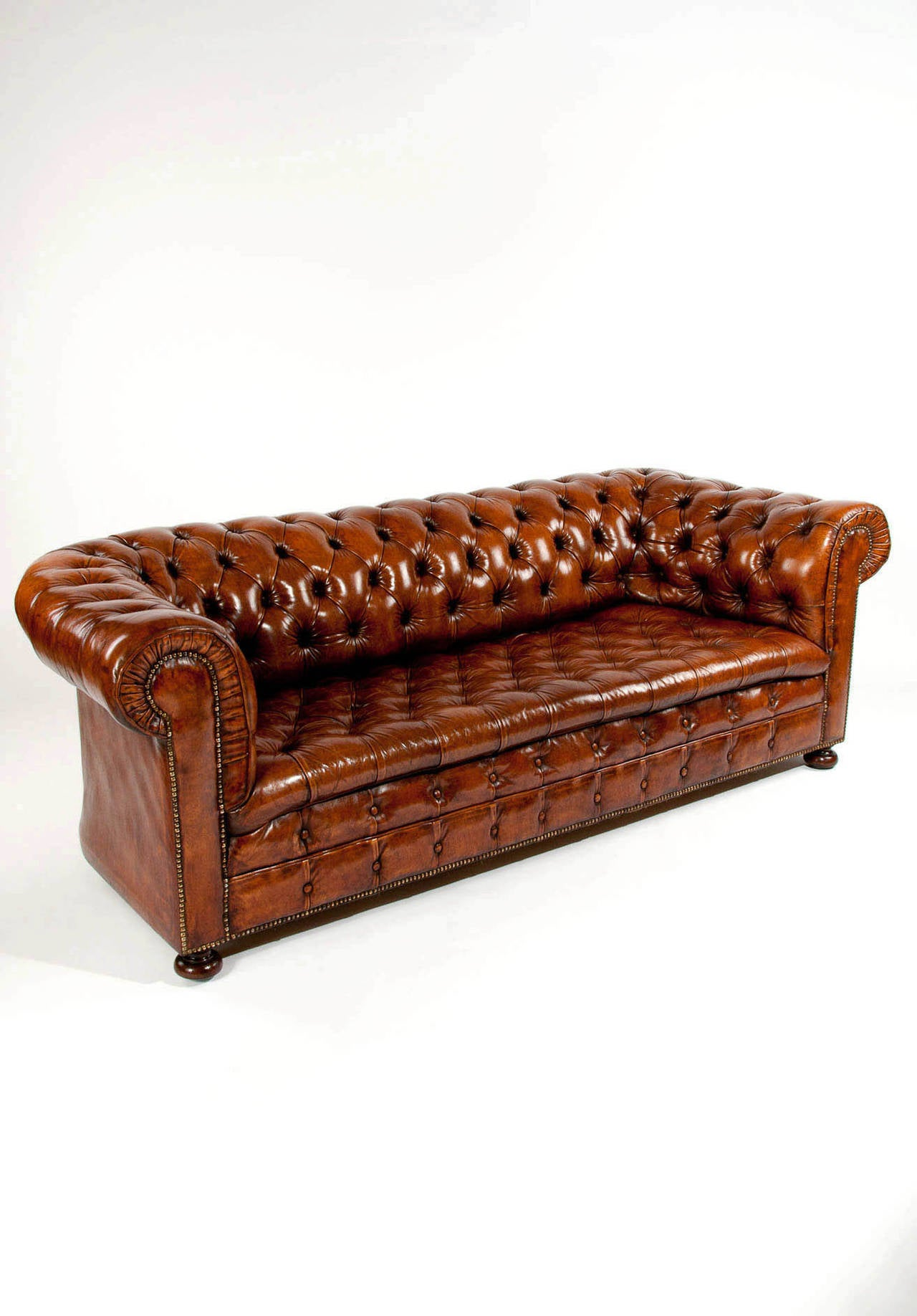 Quality antique leather chesterfield sofa at 1stdibs Leather chesterfield loveseat