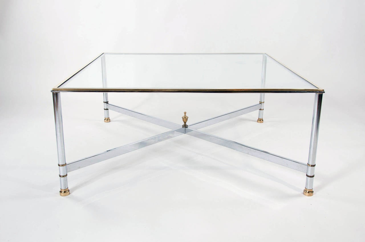 1970s large square glass coffee table at 1stdibs Large square coffee table