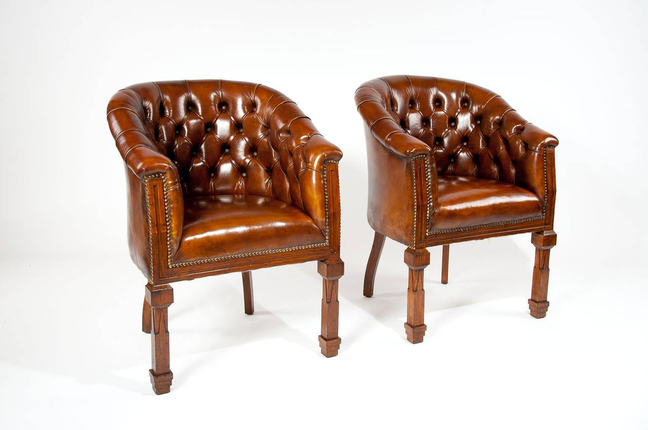 Antique tub chair - Antique Pair Of Leather Tub Chairs 2
