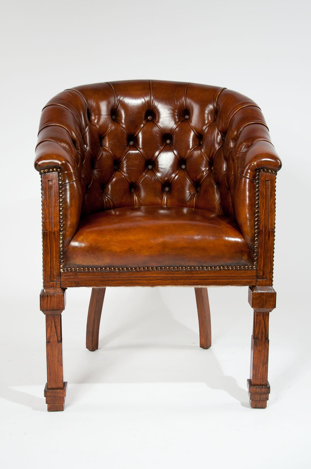 Antique Pair of Leather Tub Chairs For Sale 2 - Antique Pair Of Leather Tub Chairs At 1stdibs