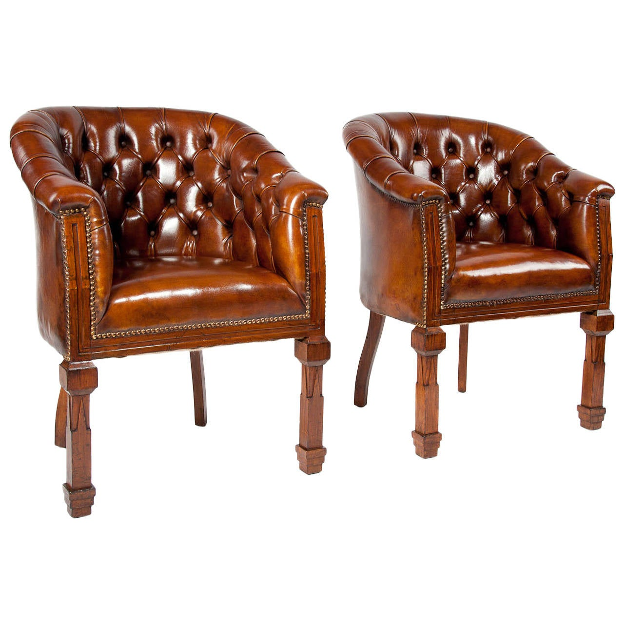 Antique Pair Of Leather Tub Chairs At 1stdibs