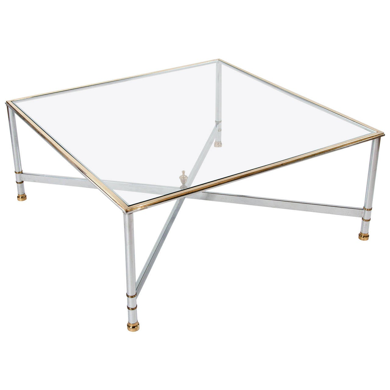 1970s large square glass coffee table at 1stdibs for Large glass coffee table