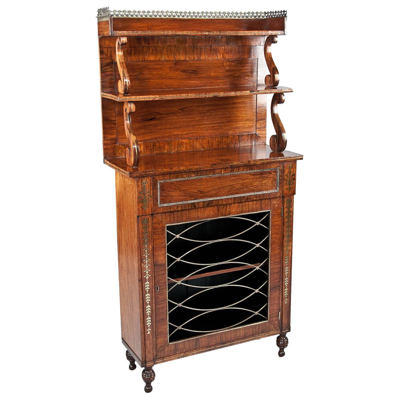 Regency Brass Inlaid Rosewood Chiffonier