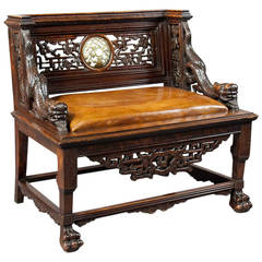 Antique Carved Chinese Throne Seat