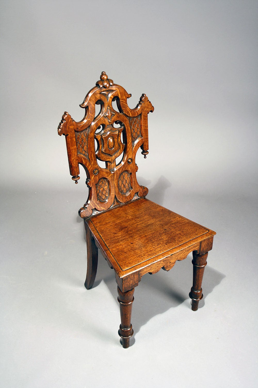 Gothic furniture chair - Pair Of Antique Gothic Oak Hall Chairs 3