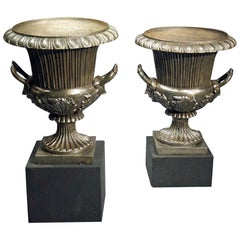 Pair of Cast Iron Victorian Urns