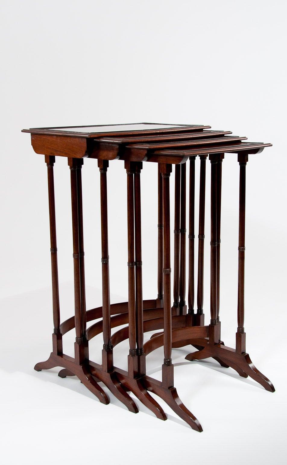 Set Of Four Regency Mahogany Nesting Tables 3
