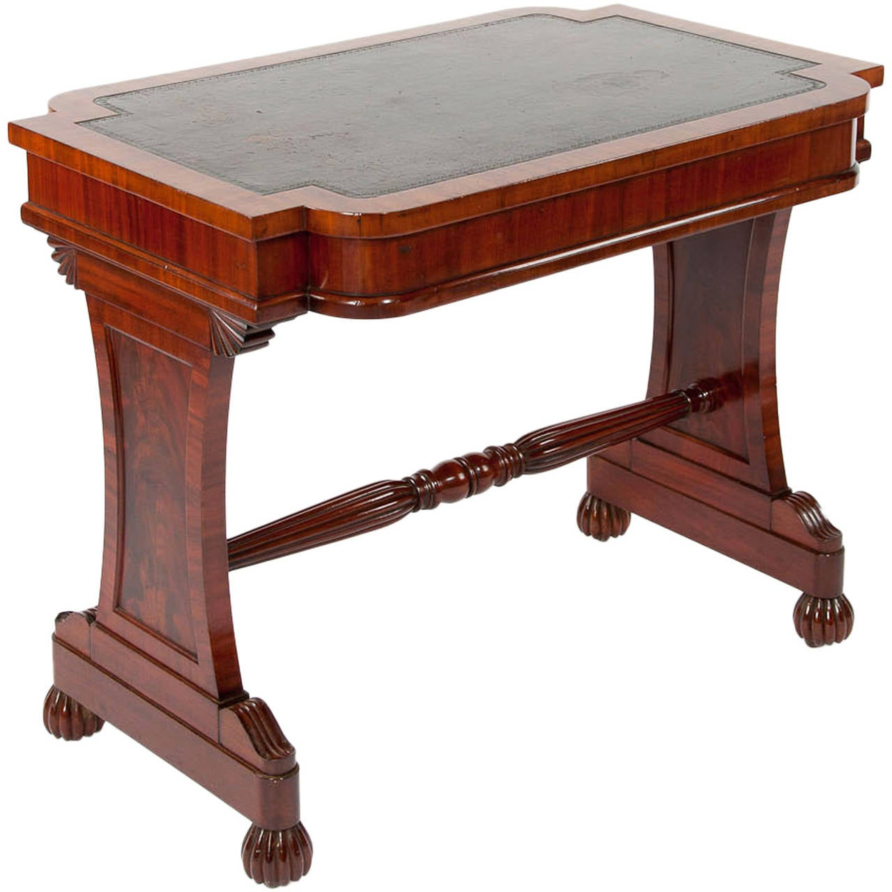 Antique Mahogany Stretcher Library Table At 1stdibs