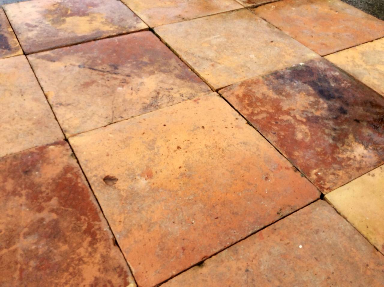 Antique Reclaimed French Terracotta Floors Tiles Age 1895