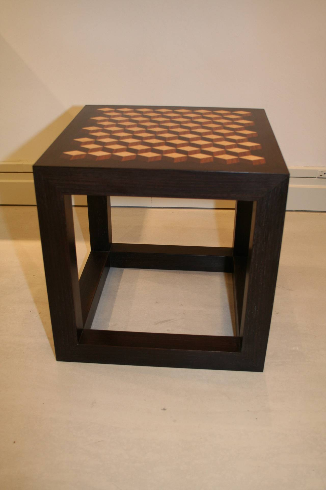 American Modern Emily Summers Studio Line Handcrafted End Table with Inlay Detail For Sale