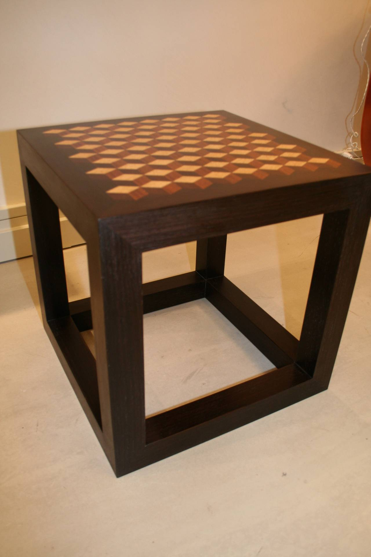 American Emily Summers Studio Line Handcrafted End Table with Inlay Detail For Sale