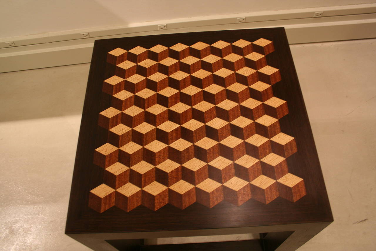 Contemporary Emily Summers Studio Line Handcrafted End Table with Inlay Detail For Sale