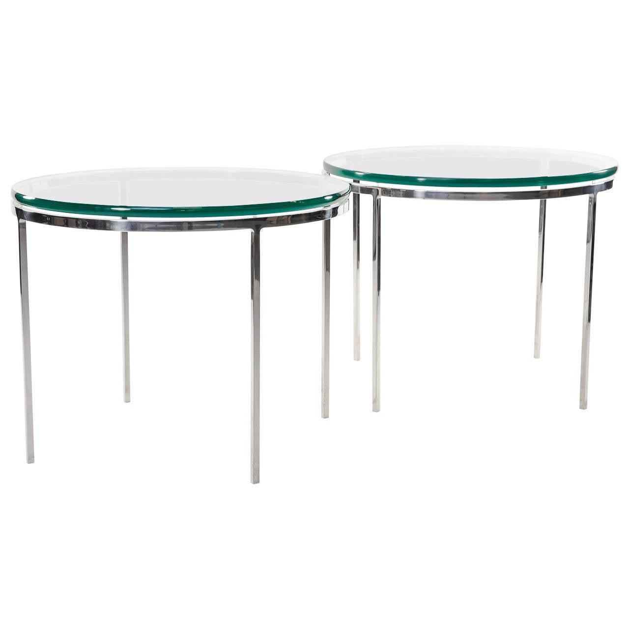 vintage pair of nicos zographos chrome and glass end tables at stdibs - vintage pair of nicos zographos chrome and glass end tables