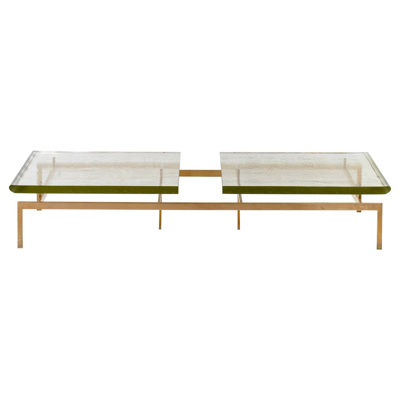 Duran Coffee Table, Polished Edges, Silicon Bronze Base, Custom Order For Sale
