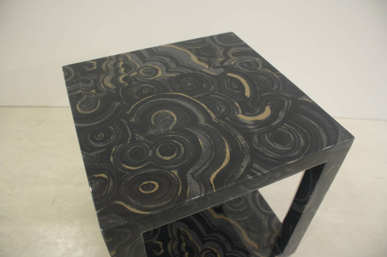 Liz O'Brien Editions - The Albert Table. Small, chic occasional table, fabric-wrapped with a durable high gloss onyx finish. Inspired by the fabric wrapped furniture of the 1970s, the Albert table can be used as a telephone table or grouped in