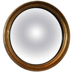 19th Century Regency Giltwood Convex Mirror