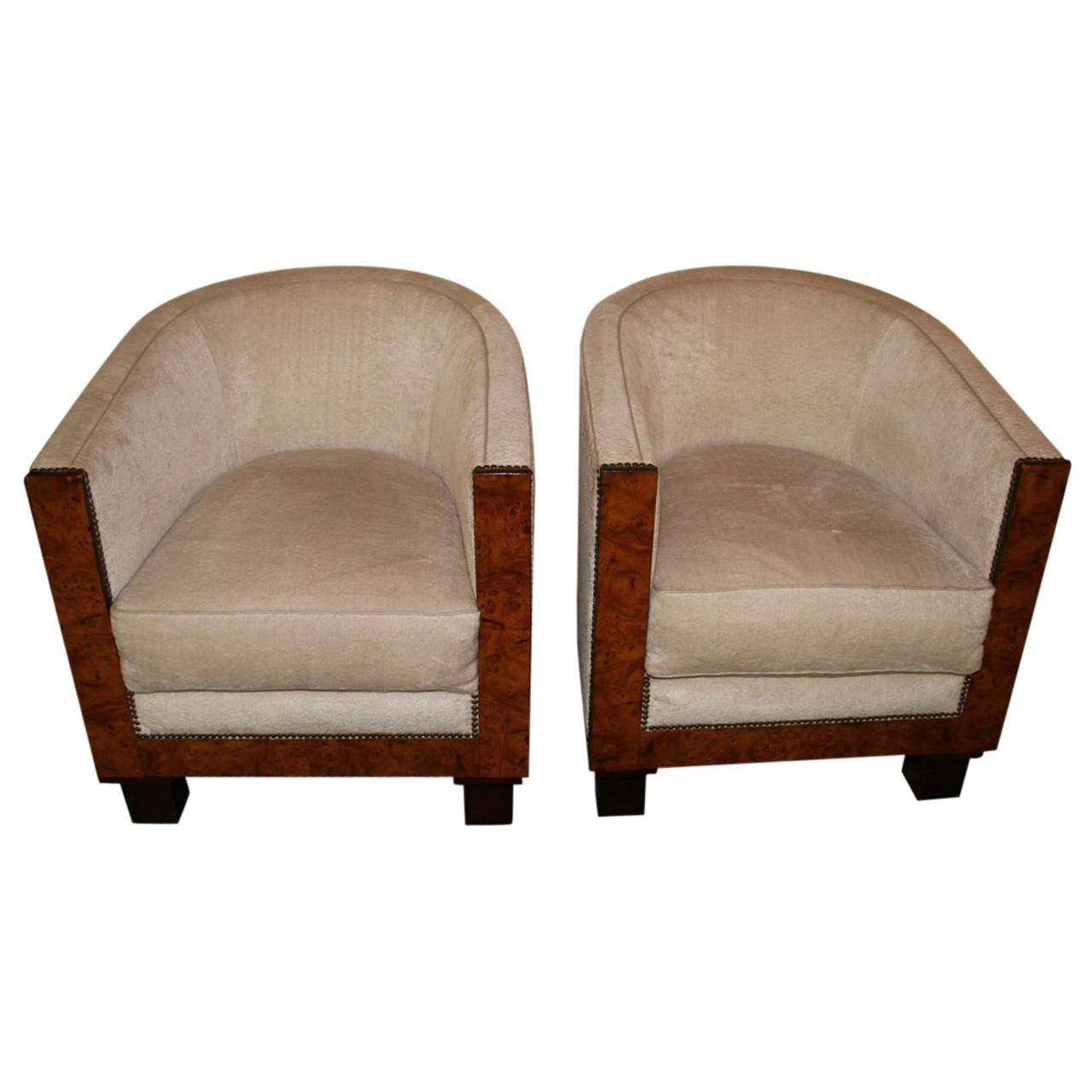 pair of french 1930s art deco barrel chairs for sale at 1stdibs