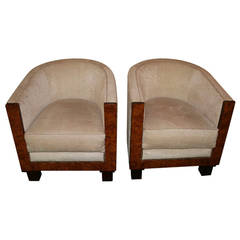 Pair of French 1930s Art Deco Barrel Chairs