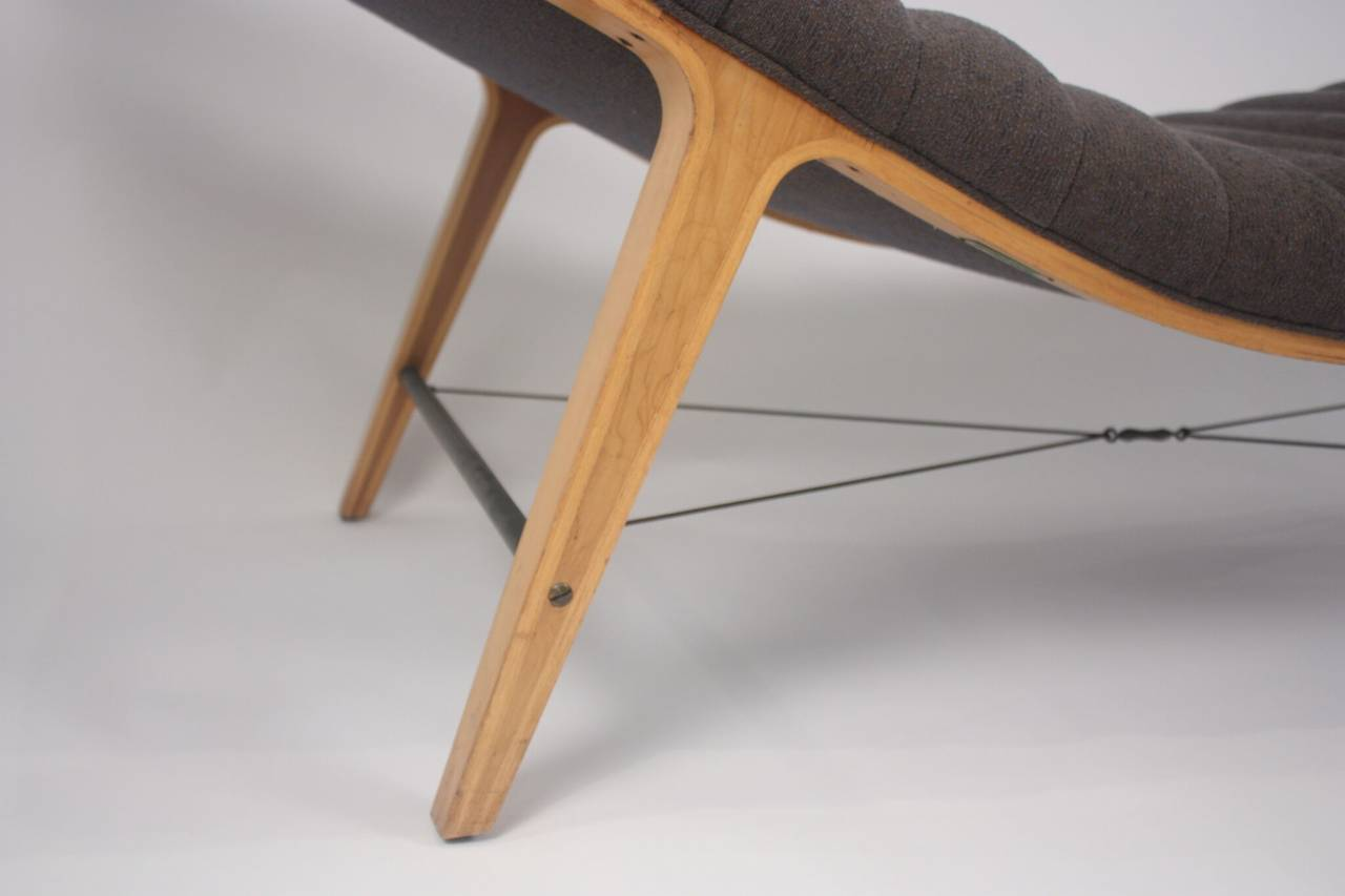 "Edward Wormley for Dunbar ""listen to me"" chaise, circa 1949. Maple and cherry with brass suspension stretchers. Not original upholstery, but in good condition. Frame shows minor wear consistent with age."