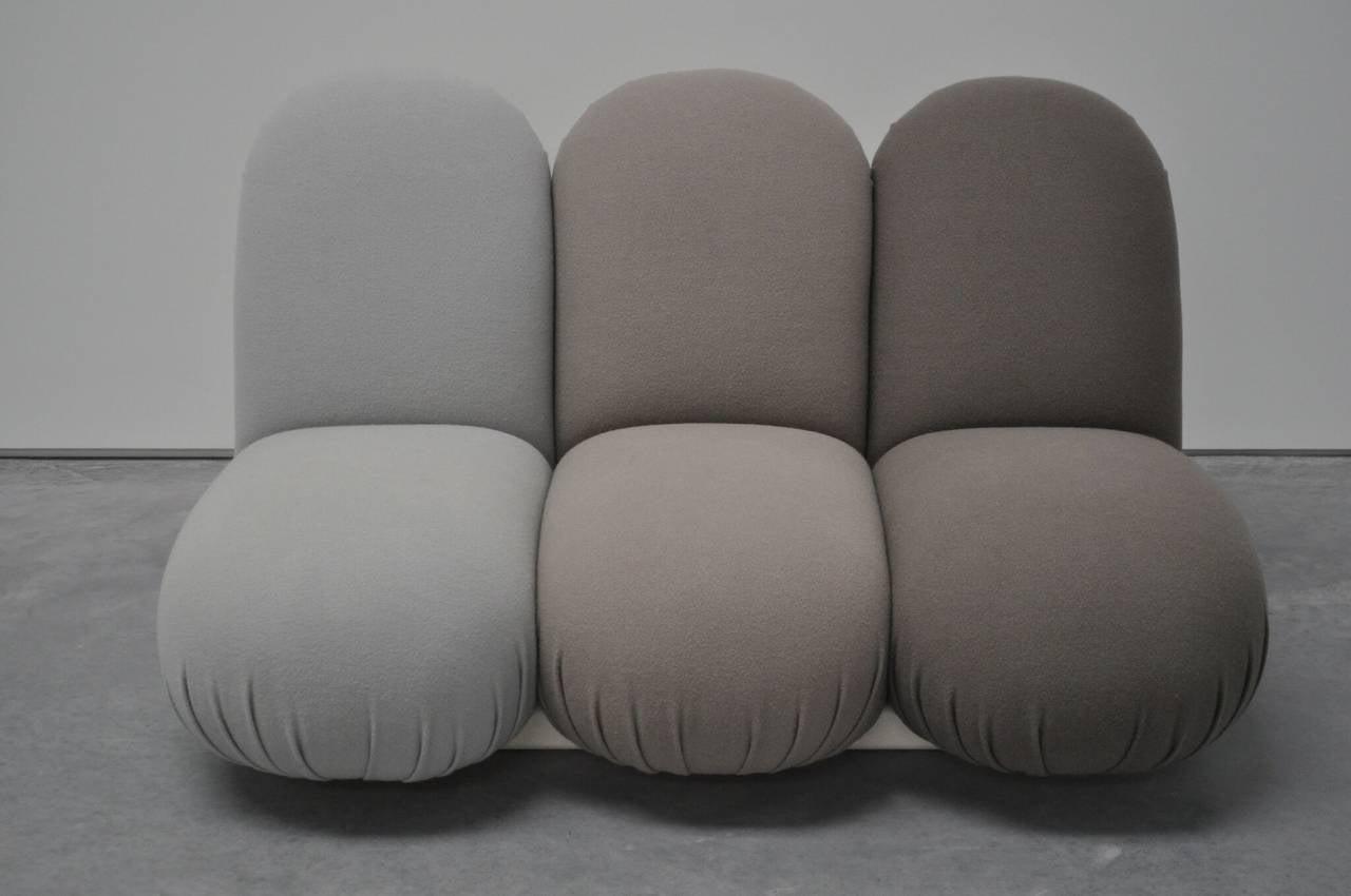"Pierre Paulin ""Blublub"" three-seat sofa, 1972. Manufactured by Edition Artifort. Wool and foam."