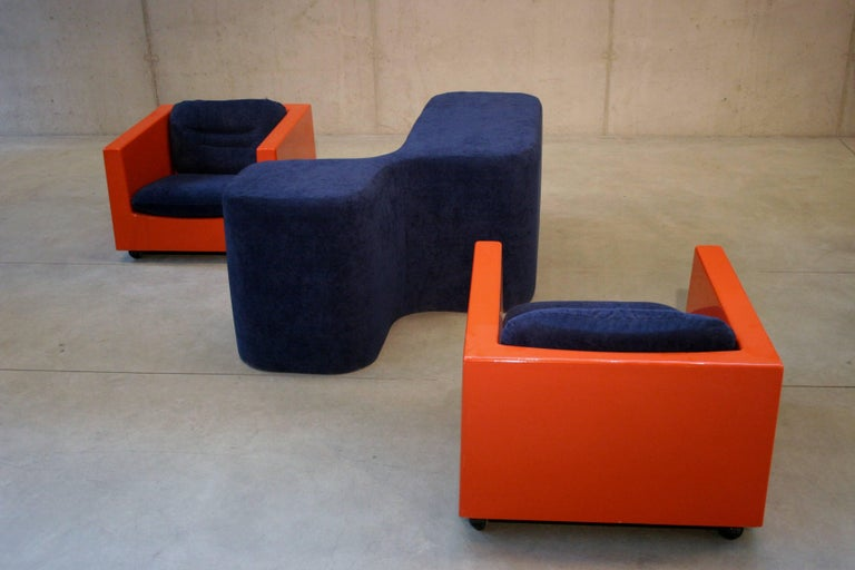 French Two Lounge Chairs by Roger Tallon, circa 1970s For Sale