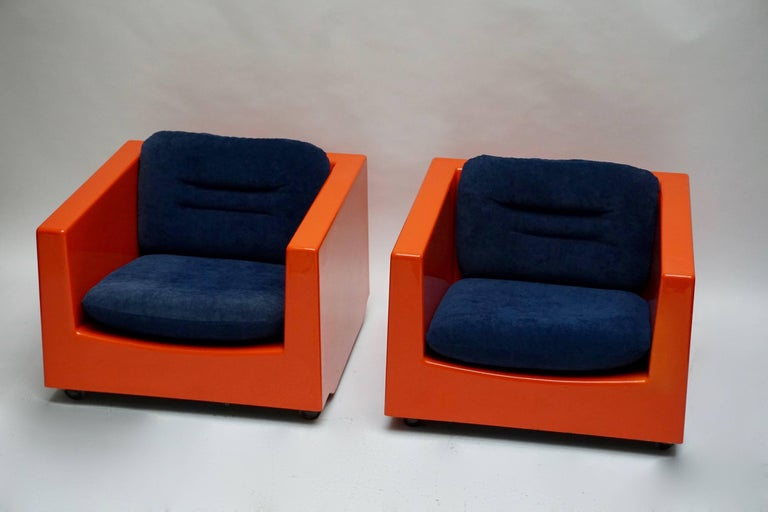 Upholstery Two Lounge Chairs by Roger Tallon, circa 1970s For Sale