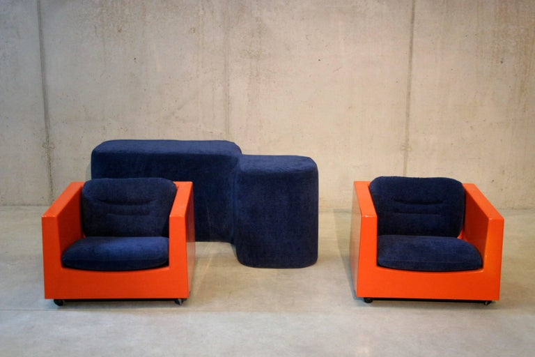 Mid-Century Modern Two Lounge Chairs by Roger Tallon, circa 1970s For Sale