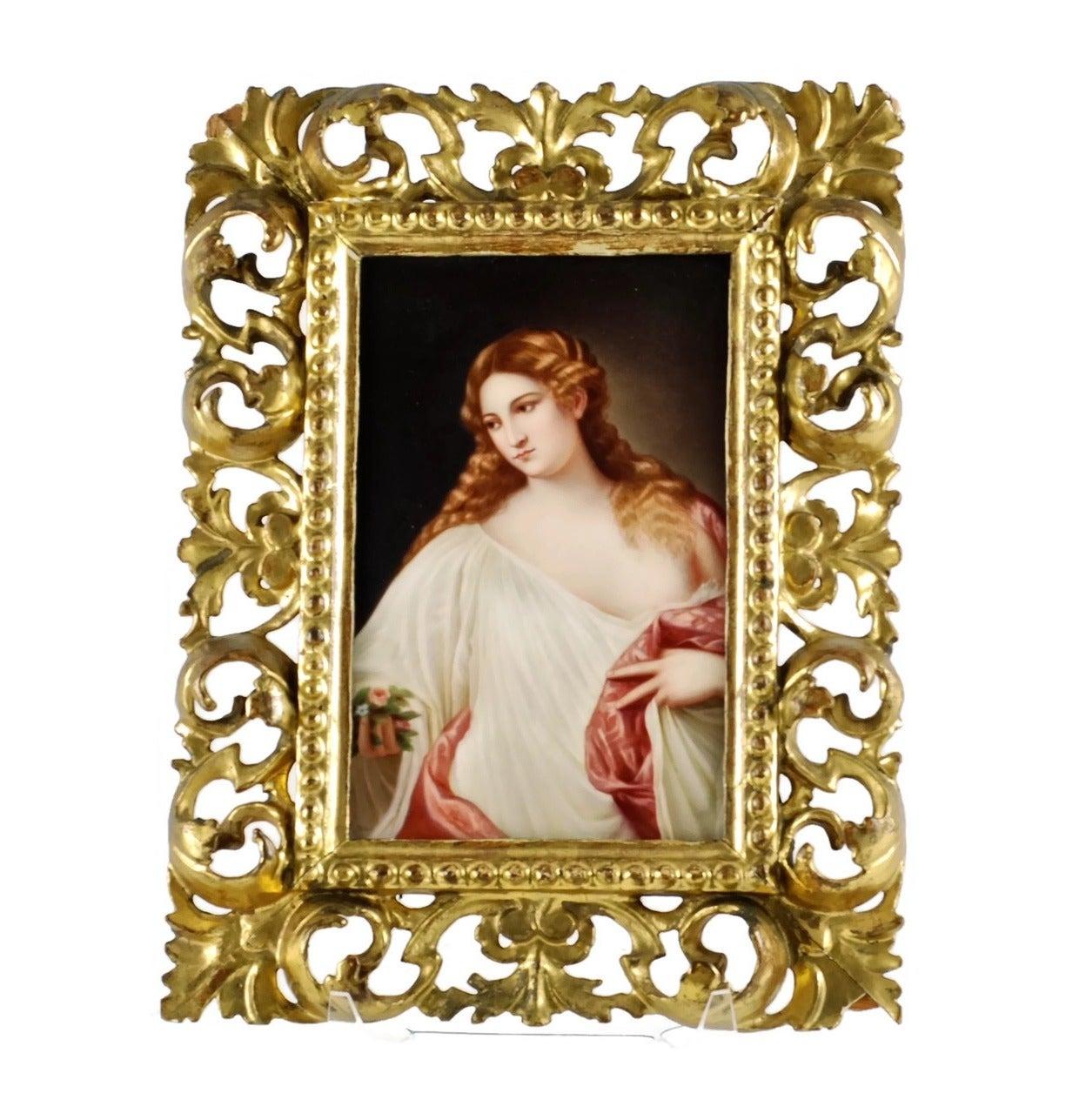 Renaissance 19th Century Hand-Painted Porcelain Plaque,
