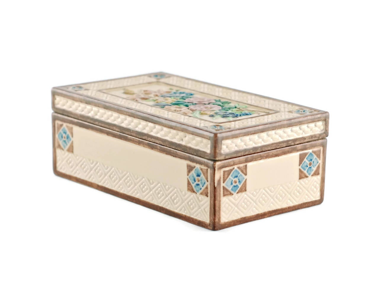 Hand-Painted Signed Sara Sax Rookwood Pottery Lidded Rectangular Box For Sale