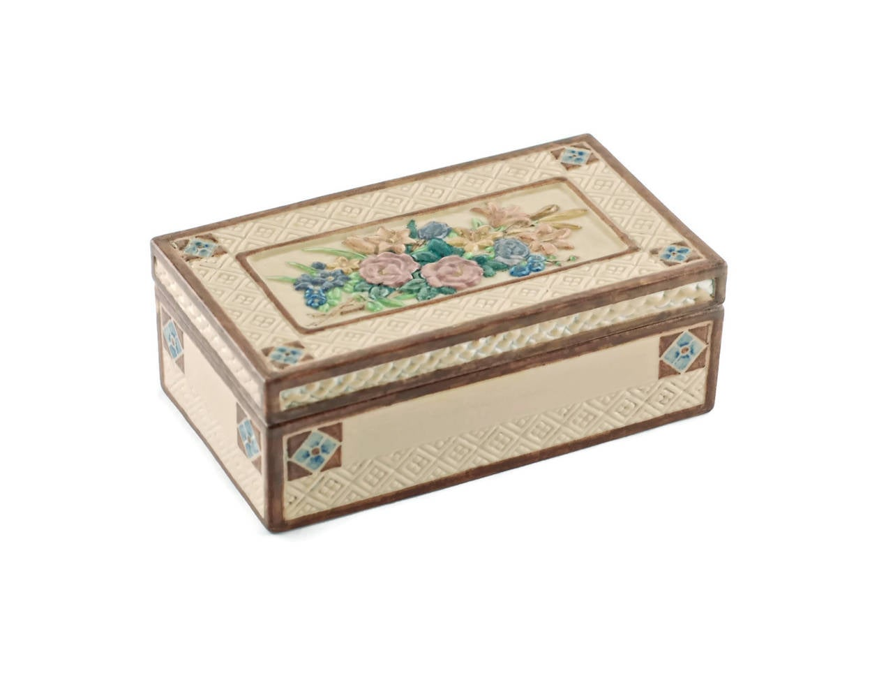 Signed Rookwood Pottery box by Sara Sax. This gorgeous ceramic lidded rectangular box was made by Rookwood Pottery of Cincinnati, Ohio, and decorated by renowned artist, Sara Sax. Rookwood has long been recognized as one of the premier producers of