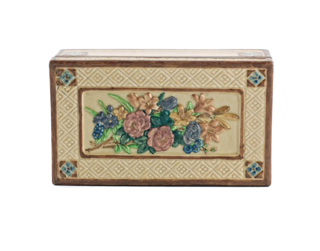 Arts and Crafts Signed Sara Sax Rookwood Pottery Lidded Rectangular Box For Sale
