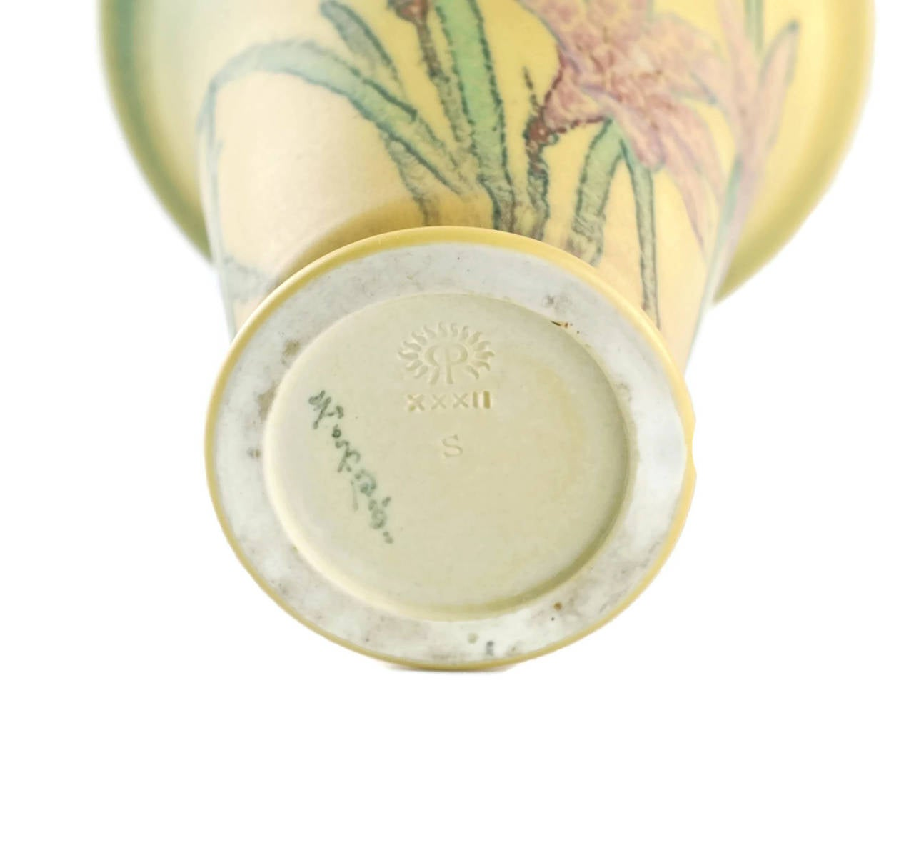Hand-Painted Kataro Shirayamadani Signed Rookwood Pottery Vase with Floral Motif For Sale