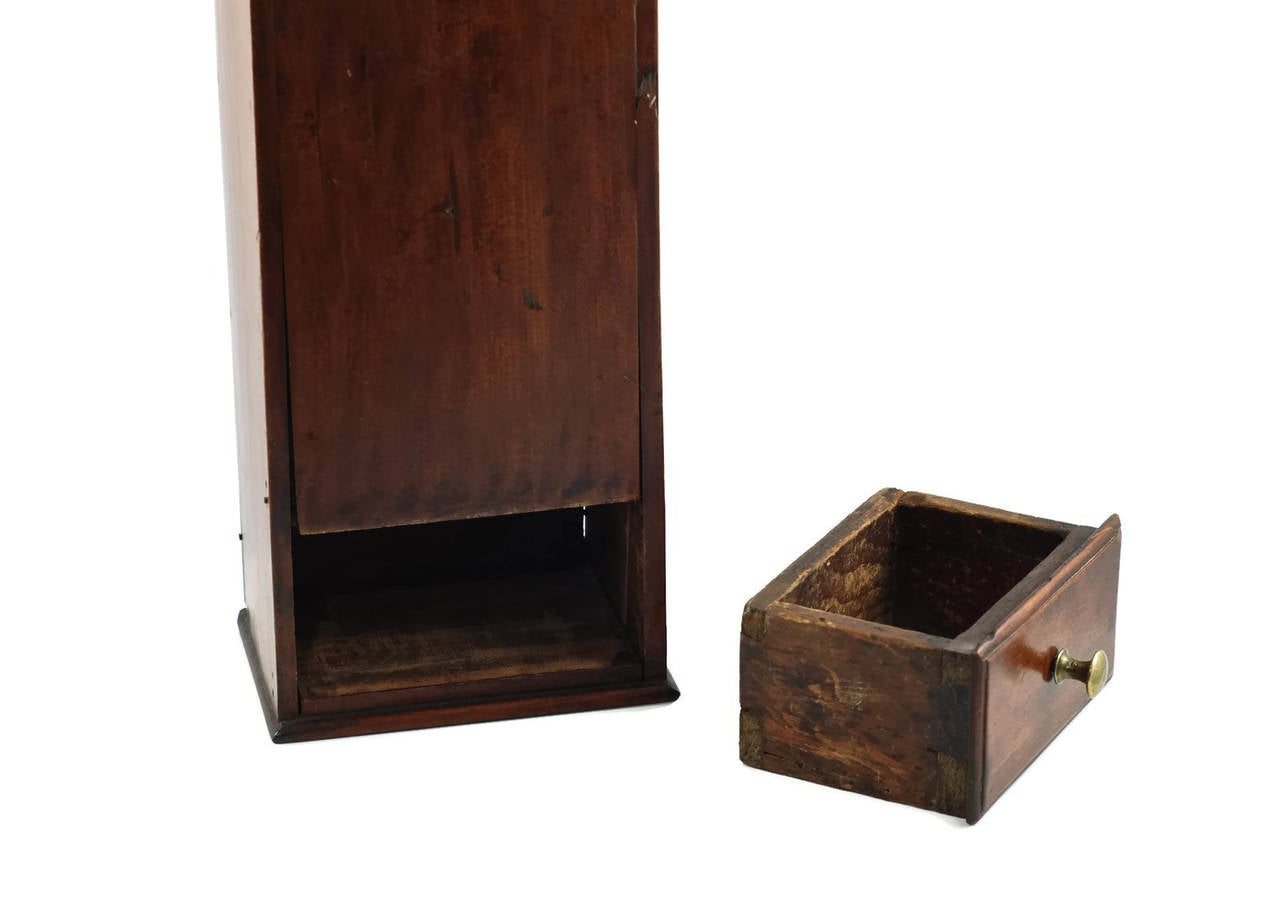 Hand-Crafted Antique New England Cherry Hanging Pipe Box, circa 1800 For Sale