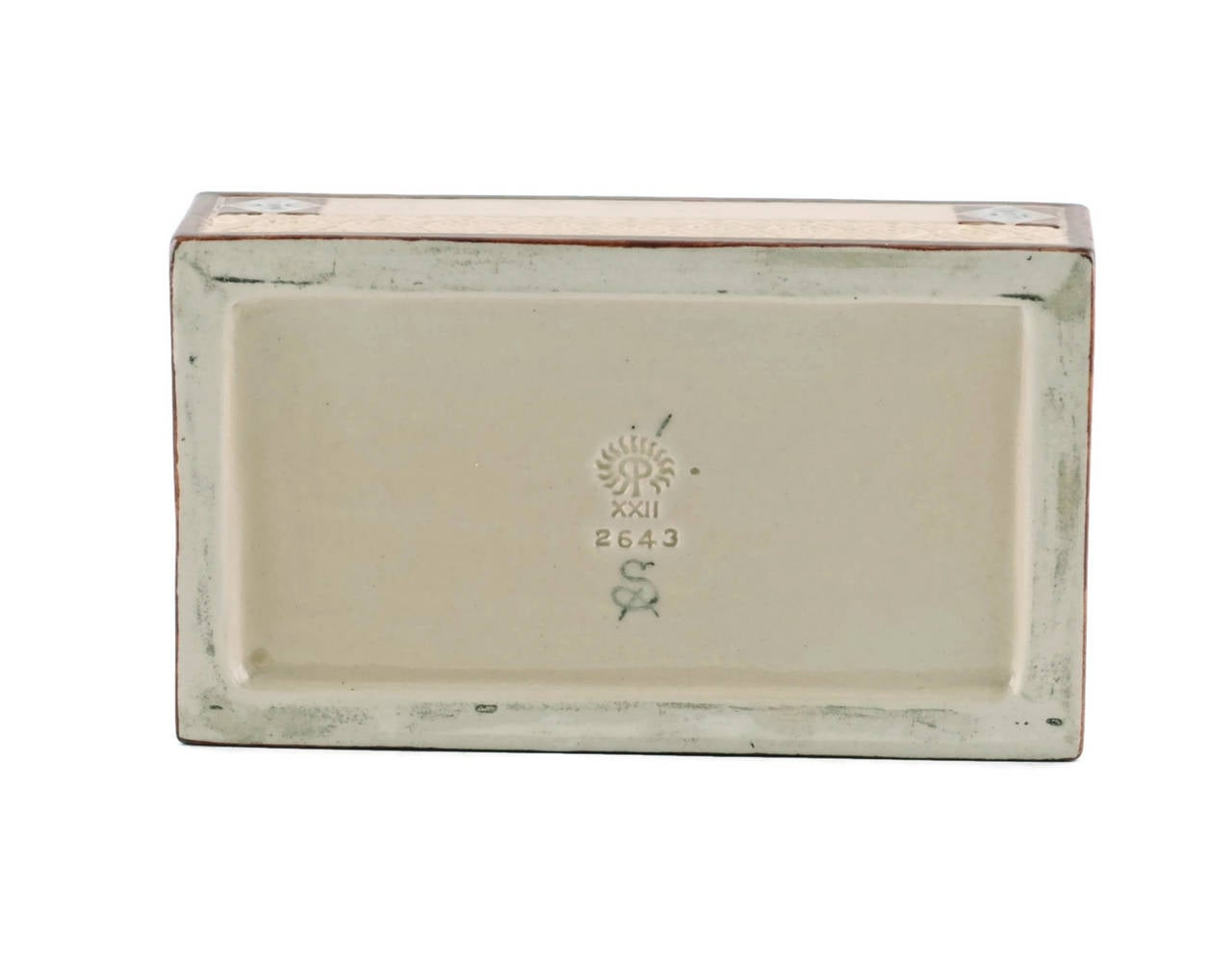 Ceramic Signed Sara Sax Rookwood Pottery Lidded Rectangular Box For Sale