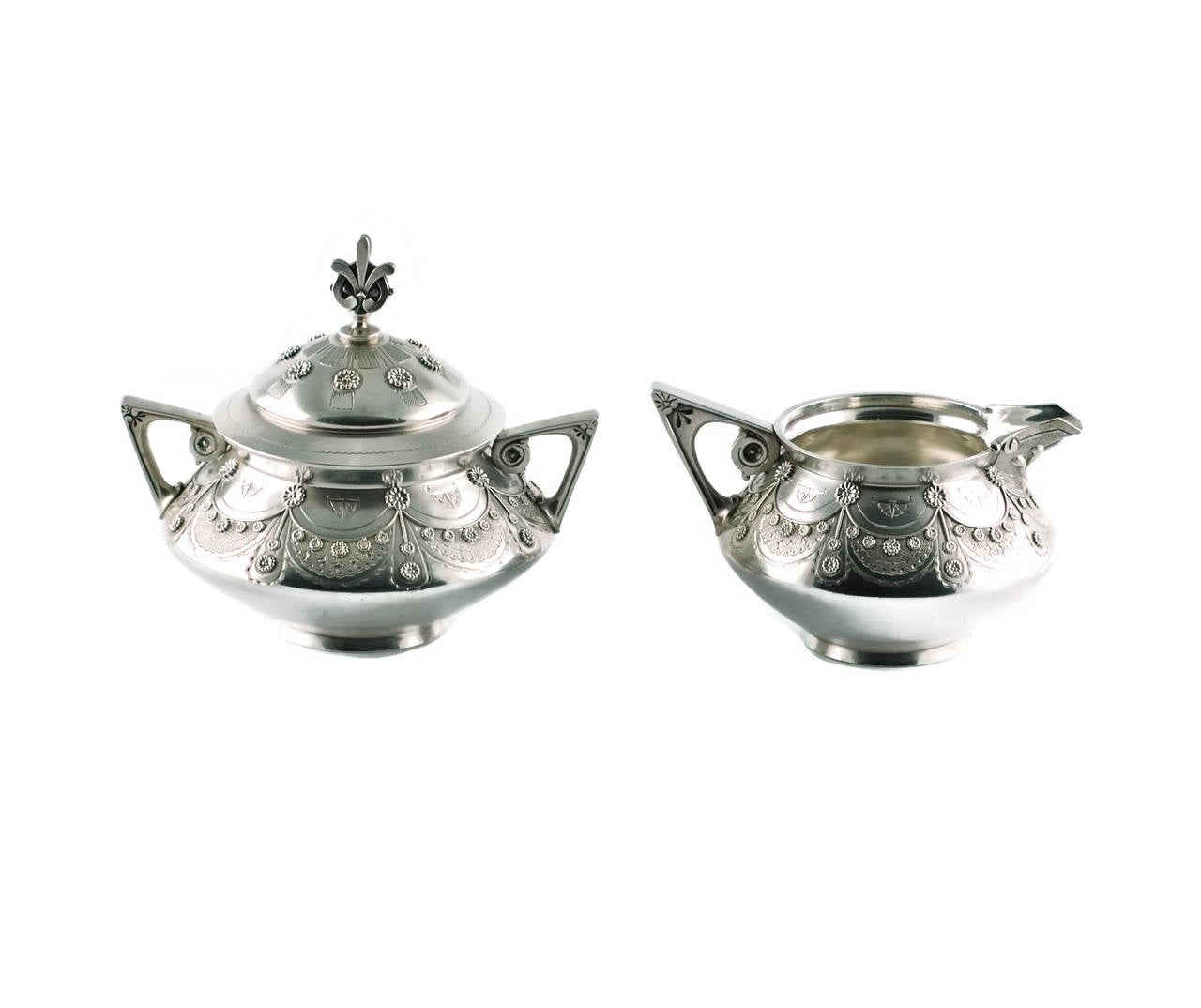 American Tiffany & Co Aesthetic Movement Sterling Silver Cream and Sugar Set For Sale