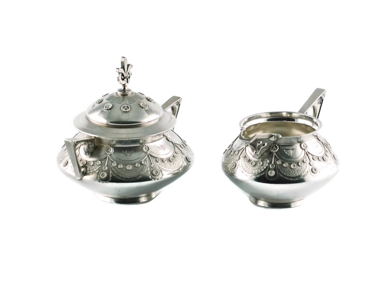 Late 19th Century Tiffany & Co Aesthetic Movement Sterling Silver Cream and Sugar Set For Sale