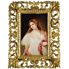 "19th Century Hand-Painted Porcelain Plaque, ""Flora"" After Titian Signed by Rau"