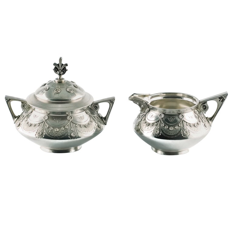 Tiffany & Co Aesthetic Movement Sterling Silver Cream and Sugar Set For Sale