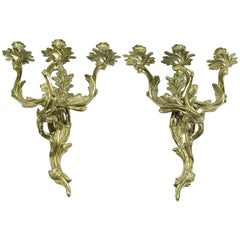 Pair of Glo-Mar Artworks Brass Louis XV Style, Three-Light Candle Wall Sconces