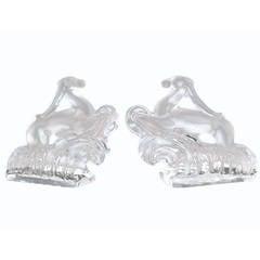 Steuben Glass Gazelle Bookends, Polished and Matte Form