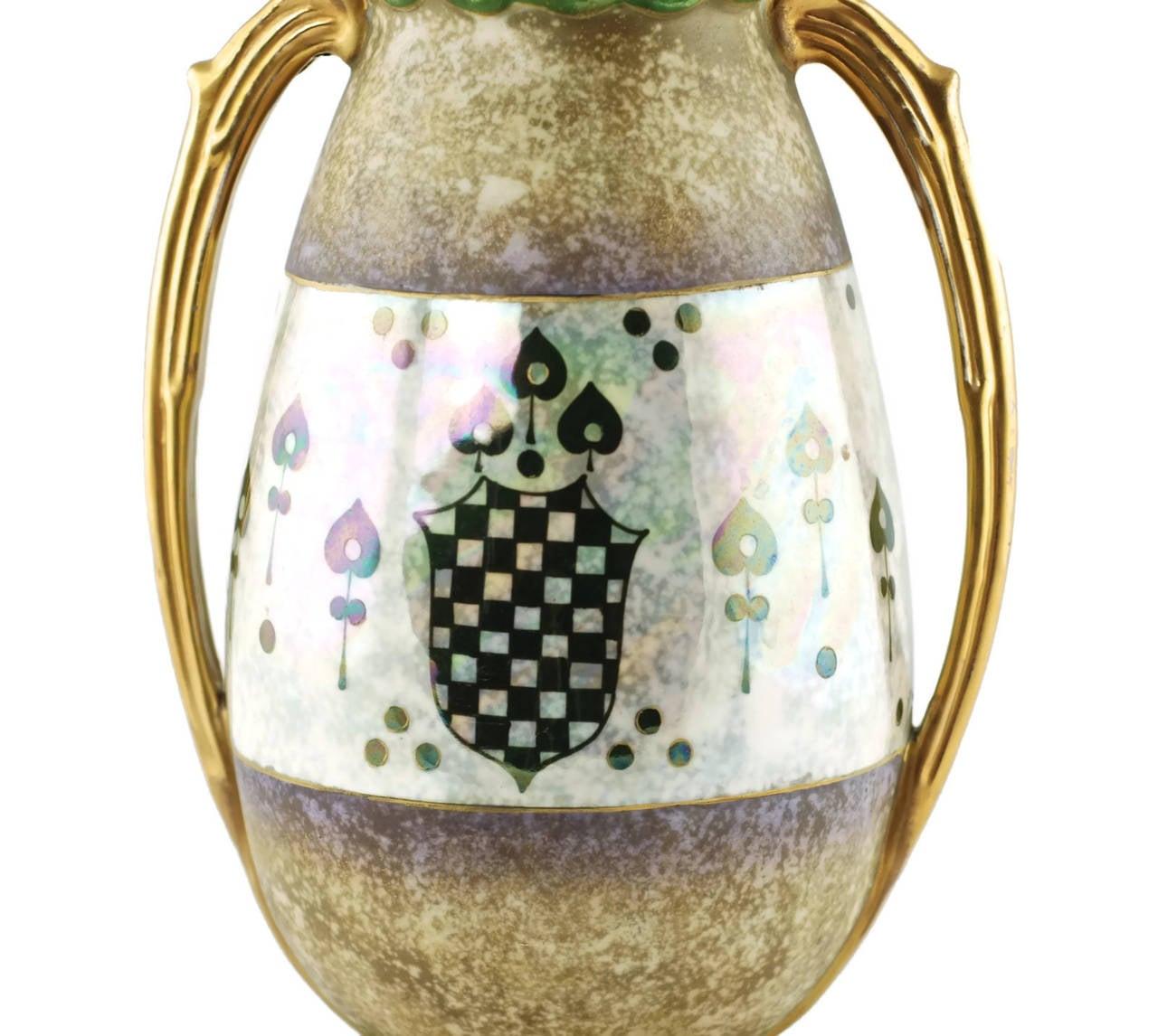 Austrian Riessner & Kessel Amphora Turn Teplitz Two-Handled Vase with Iridized Glaze For Sale