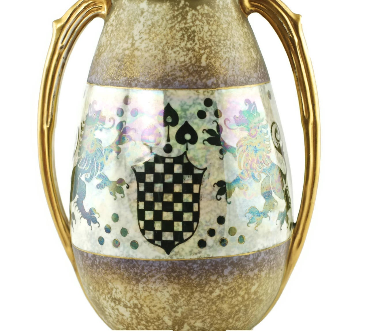 Art Nouveau Riessner & Kessel Amphora Turn Teplitz Two-Handled Vase with Iridized Glaze For Sale
