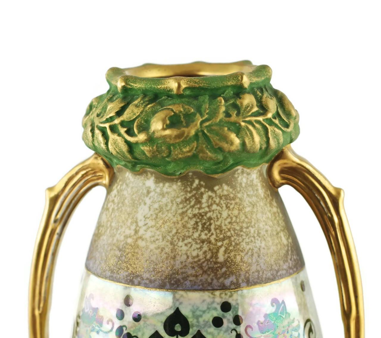 Polychromed Riessner & Kessel Amphora Turn Teplitz Two-Handled Vase with Iridized Glaze For Sale