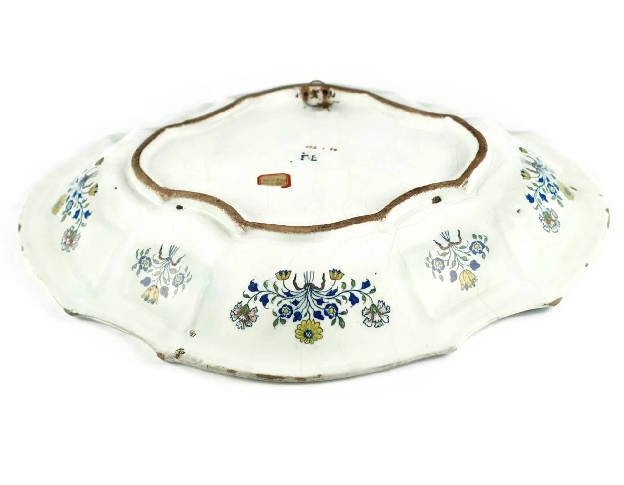 Mid-18th Century 18th Century Polychrome Faience Lobed Platter For Sale