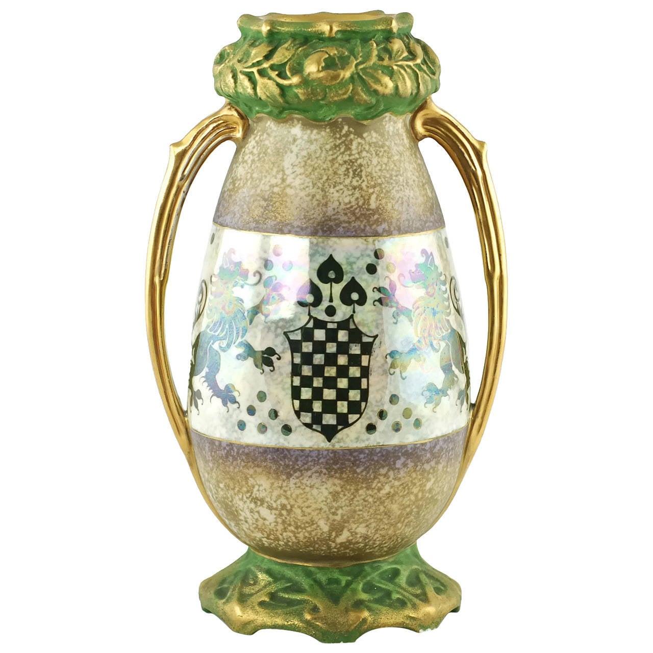 Riessner & Kessel Amphora Turn Teplitz Two-Handled Vase with Iridized Glaze